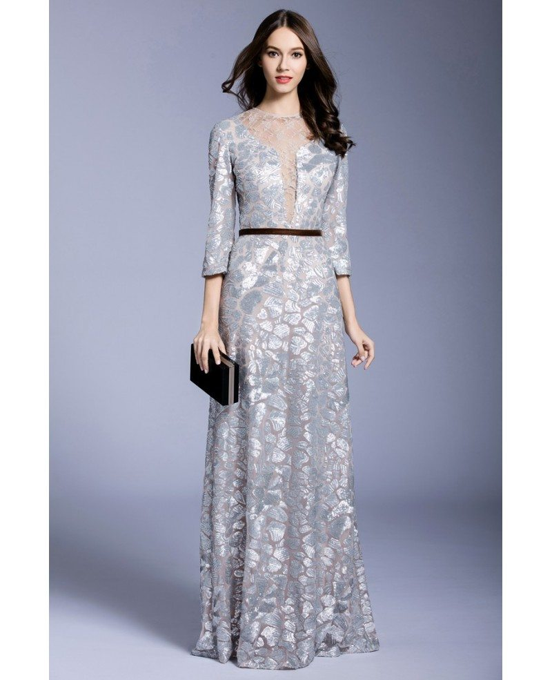 Silver A-line Scoop Neck Floor-length Evening Dress With Sequins ...