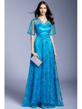 Blue A-line V-neck Floor-length Evening Dress With Beading