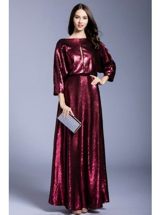 A-line Scoop Neck Sequined Floor-length Evening Dress
