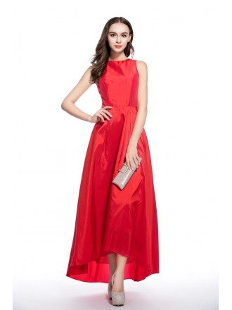 Red A-line Scoop Neck High Low Formal Dress