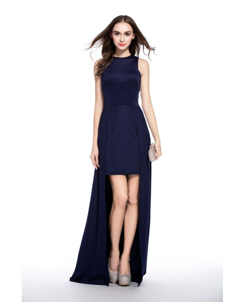 Navy Blue A-line Scoop Neck High Low Evening Dress #CK547 $88.5 ...