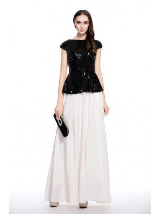 Black and White A-line Scoop Neck Floor-length Evening Dress With Sequins