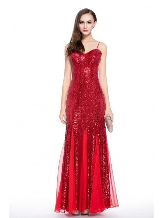 Red A-line Sweetheart Sequined Floor-length Evening Dress