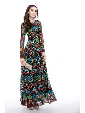 Colorful A-line Scoop Neck Floral Print Floor-length Formal Dress