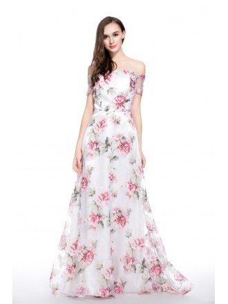A-line Off-the-shoulder Floral Print Floor-length Formal Dress