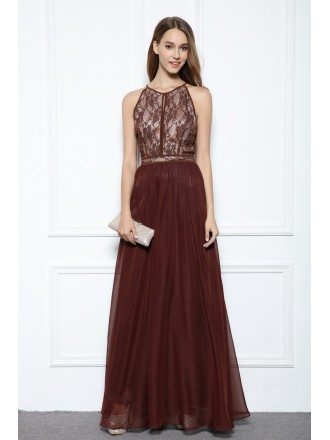 Brown A-line Halter Floor-length Evening Dress With Lace