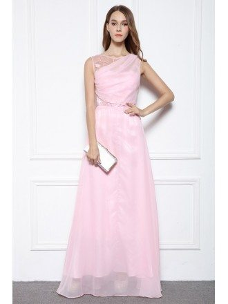 Pink A-line Scoop Neck Floor-length Formal Dress With Beading