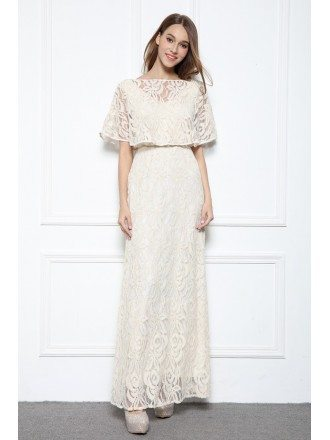 Beige A-line High Neck Floor-length Lace Formal Dress With Open Back