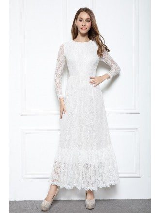 White A-line Scoop Neck Floor-length Lace Formal Dress With Sleeves