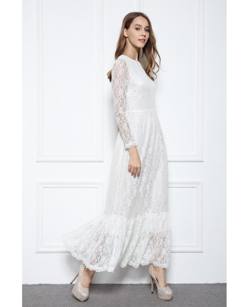 White a line scoop neck floor length lace formal dress for Floor length dress