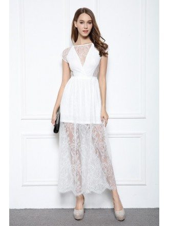 A-line Illusion V-neck Ankle-length Lace Formal Dress