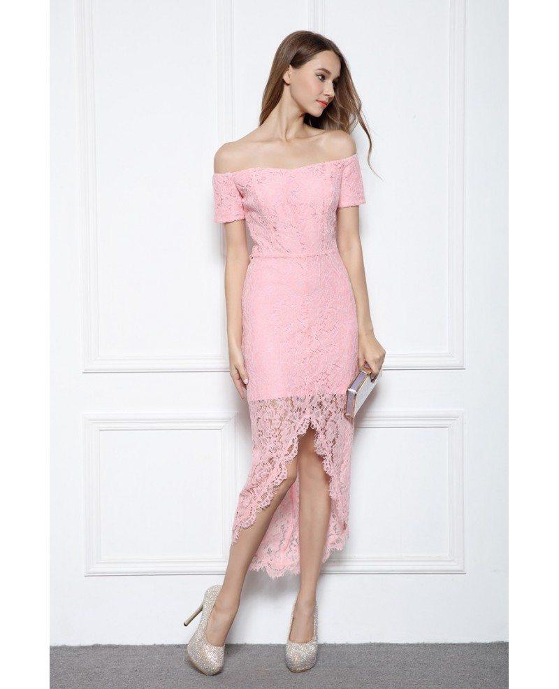 Pink Sheath Off-the-shoulder Lace High Low Formal Dress #CK566 $70.7 ...