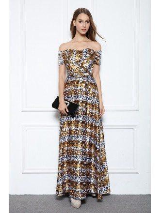 A-line Off-the-shoulder Floral Print Floor-length Evening Dress