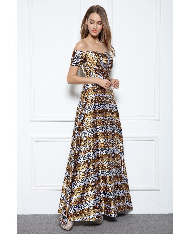 A-line Off-the-shoulder Floral Print Floor-length Evening Dress ...