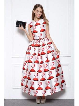 Ball-gown Scoop Neck Printed Ankle-length Formal Dress