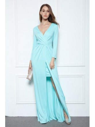 A-line V-neck Floor-length Formal Dress With Front Split