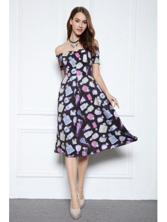 A-line Off-the-shoulder Knee-length Printed Formal Dress