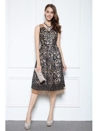 Black A-line V-neck Knee-length Lace Formal Dress