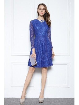 Blue A-line Scoop Neck Knee-length Lace Formal Dress With Long Sleeves