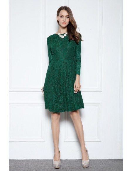 Dark green a line scoop neck knee length lace formal dress for Long sleeve dresses for wedding party