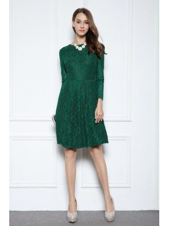 Dark Green A Line Scoop Neck Knee Length Lace Formal Dress With Long Sleeves