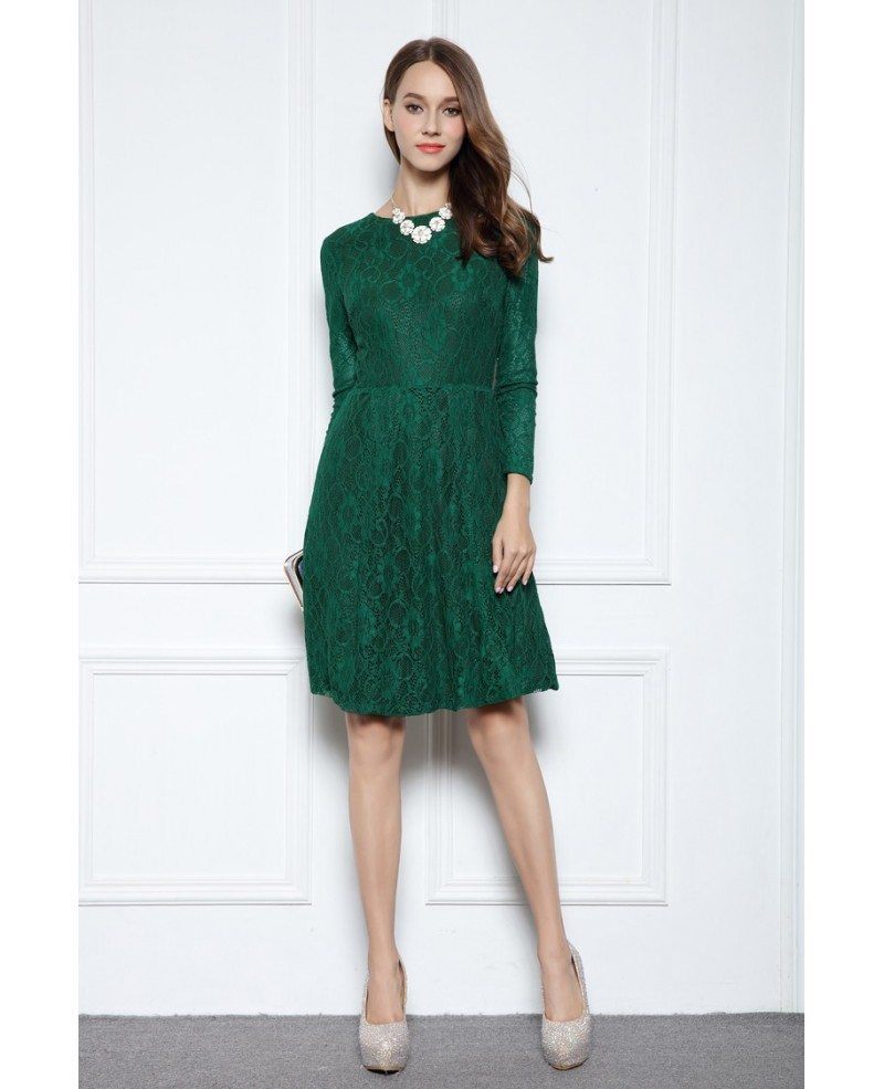 Dark Green A-line Scoop Neck Knee-length Lace Formal Dress With Long ...
