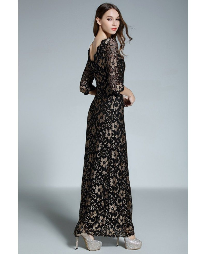 A-line Scoop Neck Floor-length Black Lace Formal Dress With Open ...