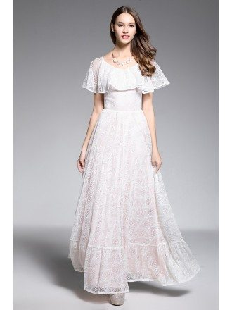 A-line Scoop Neck Floor-length Lace White Formal Dress With Flounce