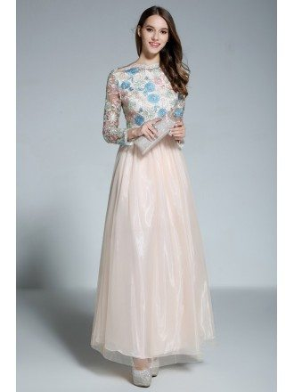 A-line Scoop Neck Embroidery Organza Floor-length Evening Dress