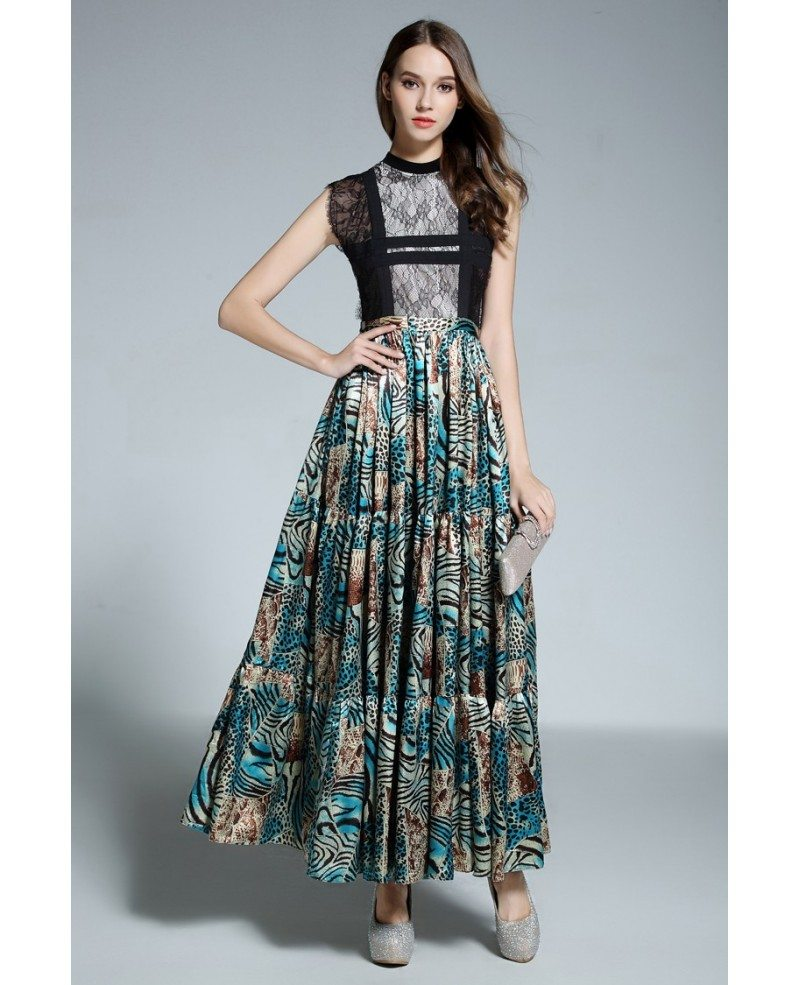 A-line High Neck Floral Print Floor-length Evening Dress With Lace ...
