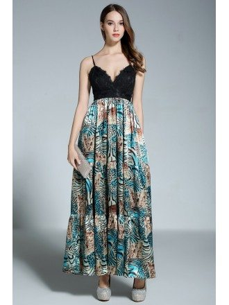 A-line V-neck Floral Print Floor-length Evening Dress With Lace