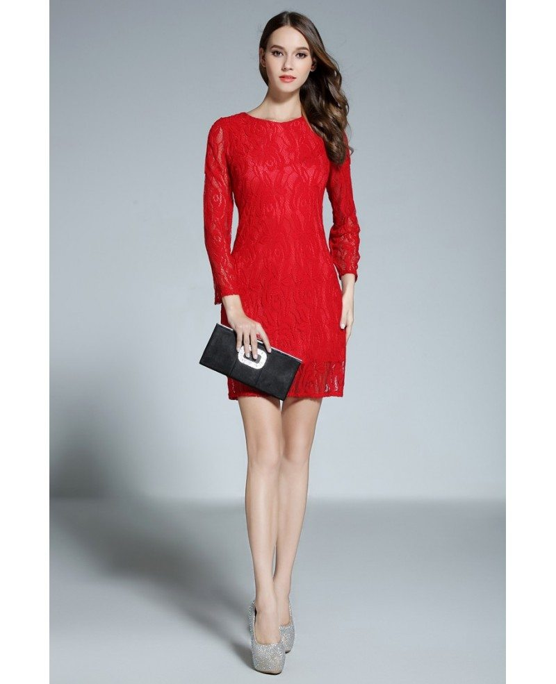 Sheath Scoop Neck Lace Short Red Formal Dress With Sleeves #DK368 ...