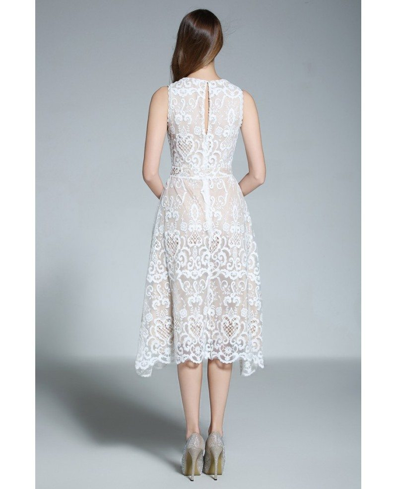 A-line Scoop Neck White Lace Sleeveless Knee-length Formal Dress ...