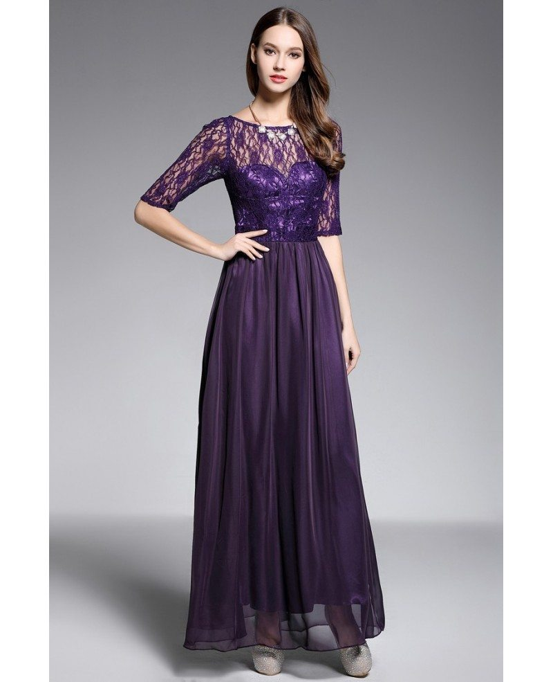A-line Scoop Neck Floor-length Purple Evening Dress With Lace #CK604 ...