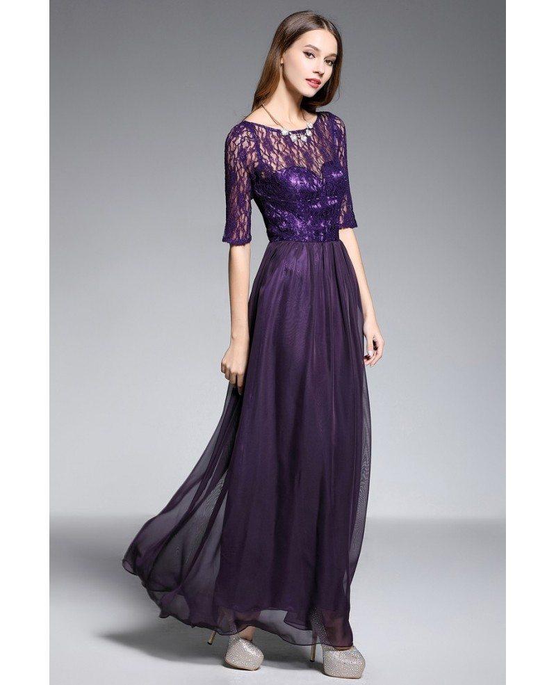A-line Scoop Neck Floor-length Purple Evening Dress With Lace #CK604 ...