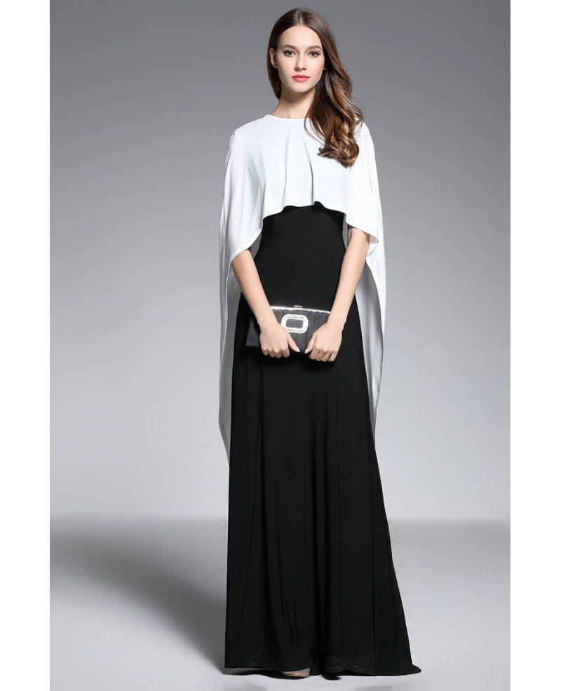 A-line V-neck Floor-length Black and White Evening Dress With Cape ...
