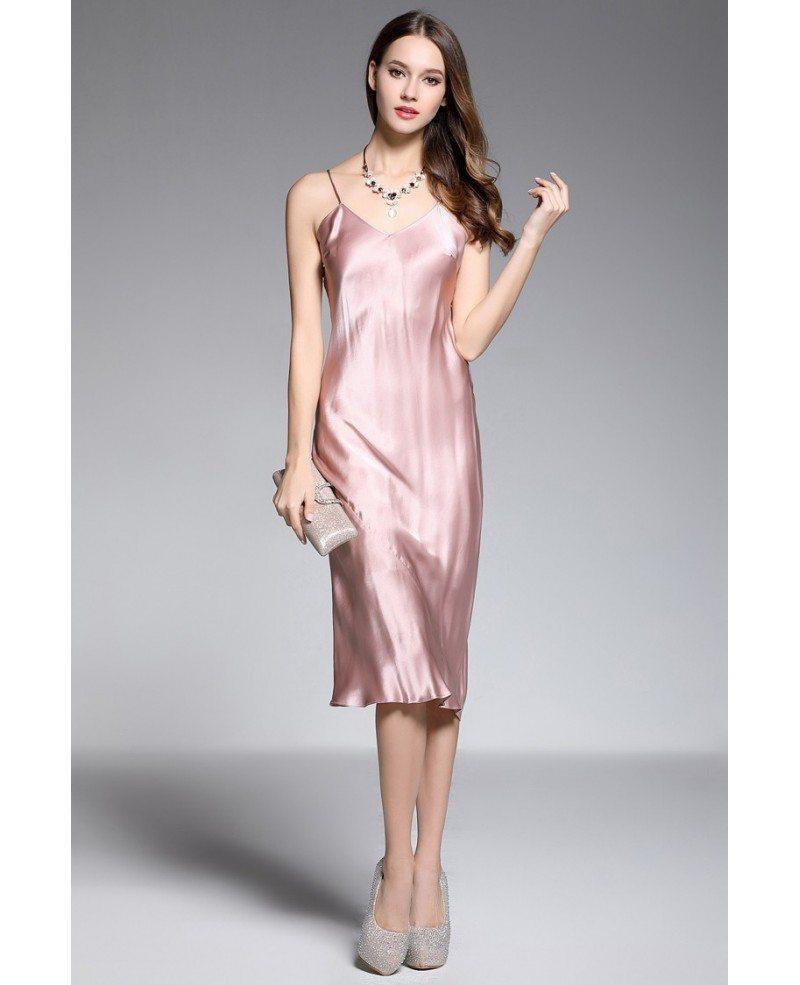 Sheath V-neck Tea-length Rose Pink Silk Evening Dress #DK369B $74.6 ...