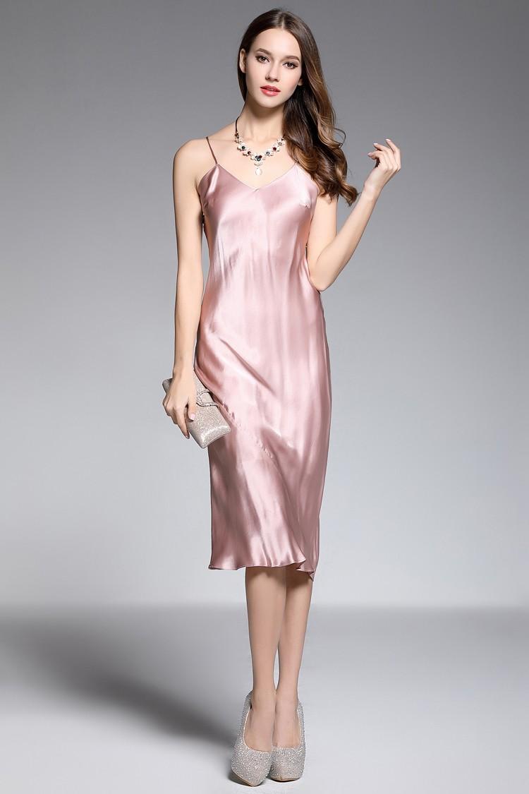 Sheath V Neck Tea Length Rose Pink Silk Evening Dress