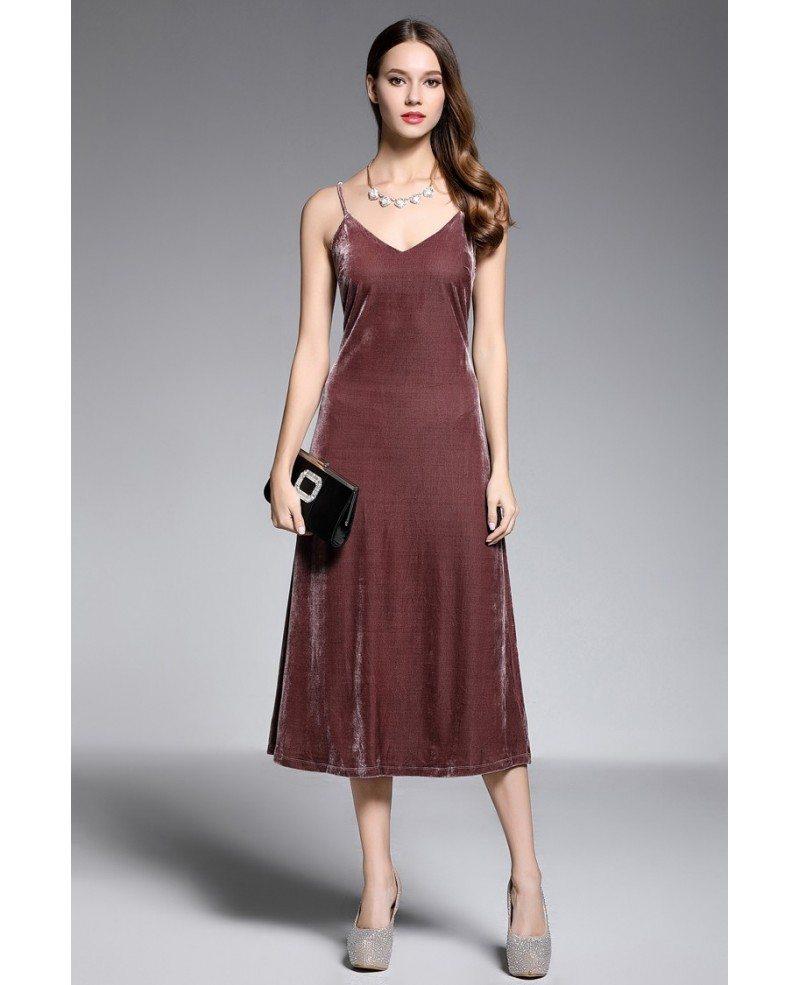 Sheath V-neck Tea-length Velvet Evening Dress #DK370 $41.2 ...