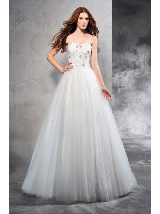 A-Line Sweetheart Floor-length Tulle Wedding Dresses with Beading