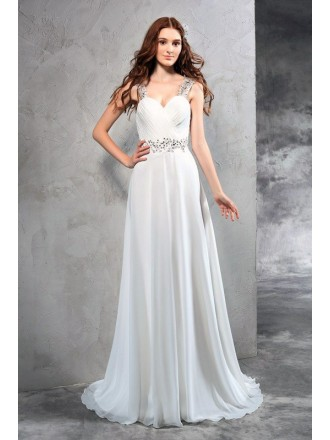 A-Line Sweetheart Floor-length Chiffon Wedding Dresses with Beading
