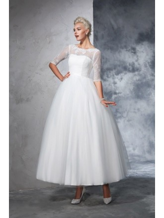 a line scoop neck tea length wedding dresses with lace sleeves