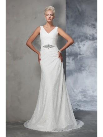 Mermaid V-neck Floor-length Lace Wedding Dress With Beading