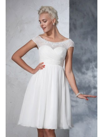 A-Line Scoop Neck Short Chiffon Wedding Dresses with Cap Sleeves