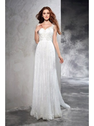 A-line V-neck Floor-length Lace Wedding Dress With Beading