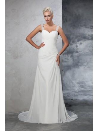 Mermaid Sweetheart Sweep Train Chiffon Wedding Dress With Open Back