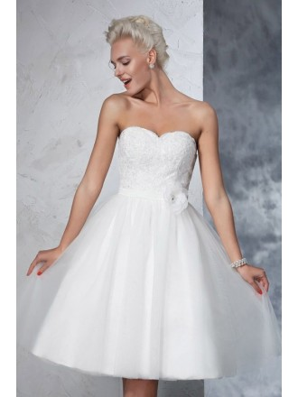 A-Line Sweetheart Short Tulle Wedding Dress with Lace