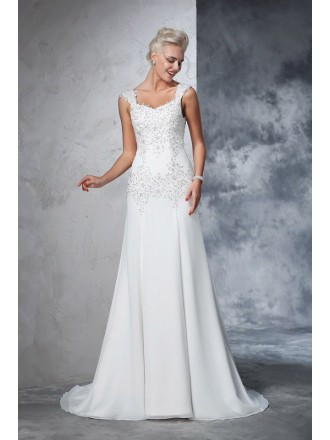 A-line V-neck Floor-length Chiffon Wedding Dress With Beading