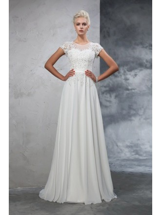 A-Line Scoop Neck Floor-length Wedding Dresses with Appliques Lace