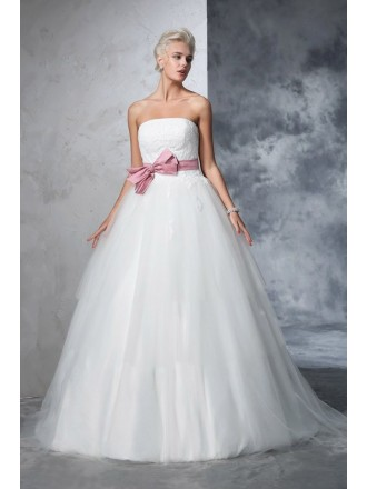 Ball-gown Strapless Floor-length Tulle Wedding Dresses with Bow
